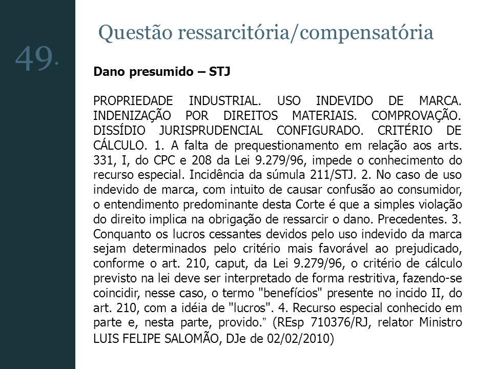 49. Questão ressarcitória/compensatória Dano presumido – STJ
