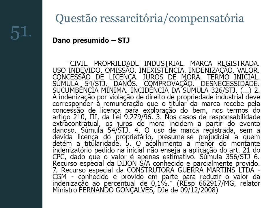51. Questão ressarcitória/compensatória Dano presumido – STJ