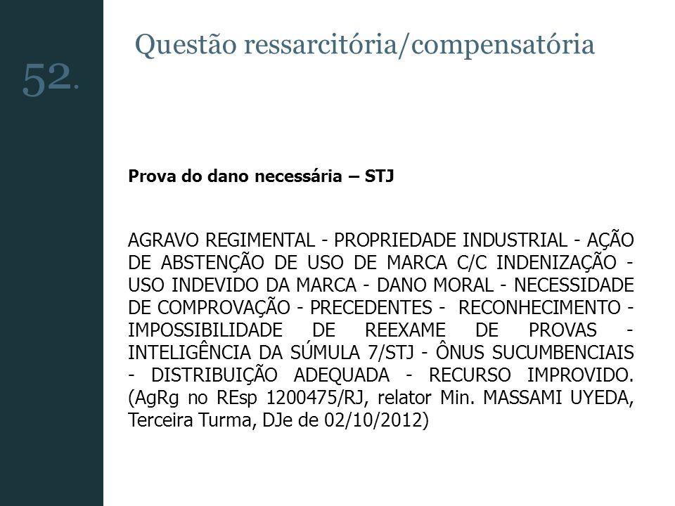 52. Questão ressarcitória/compensatória