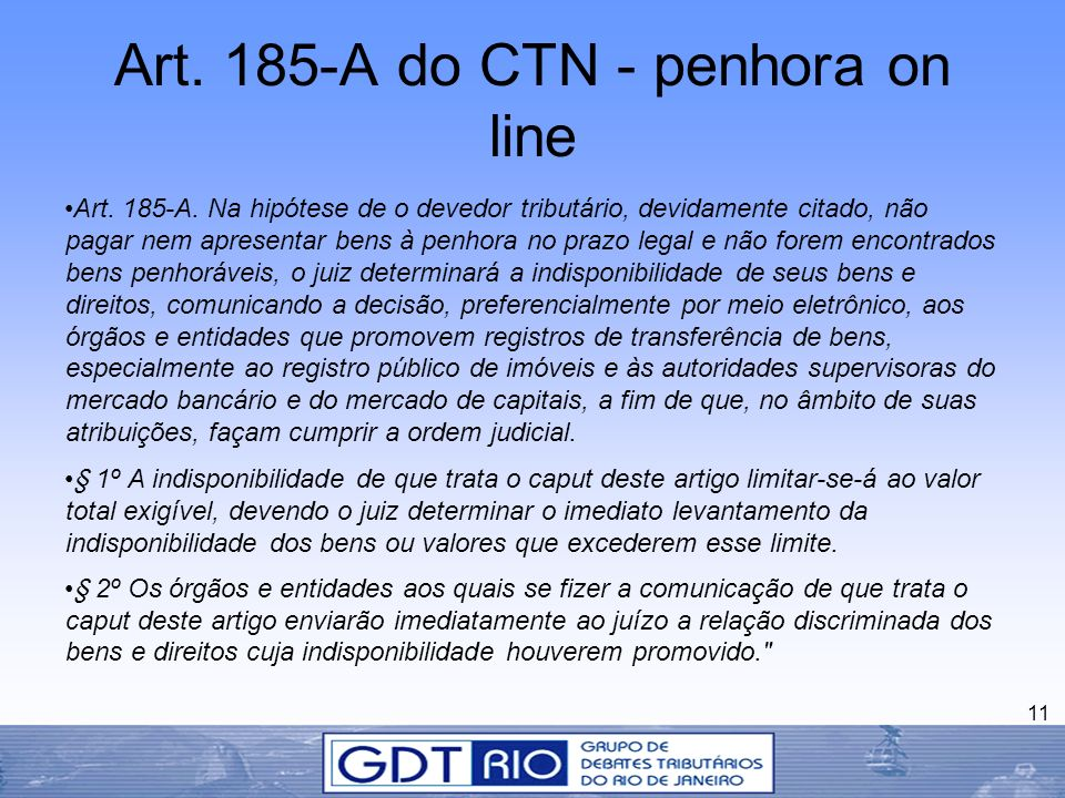 Art. 185-A do CTN - penhora on line
