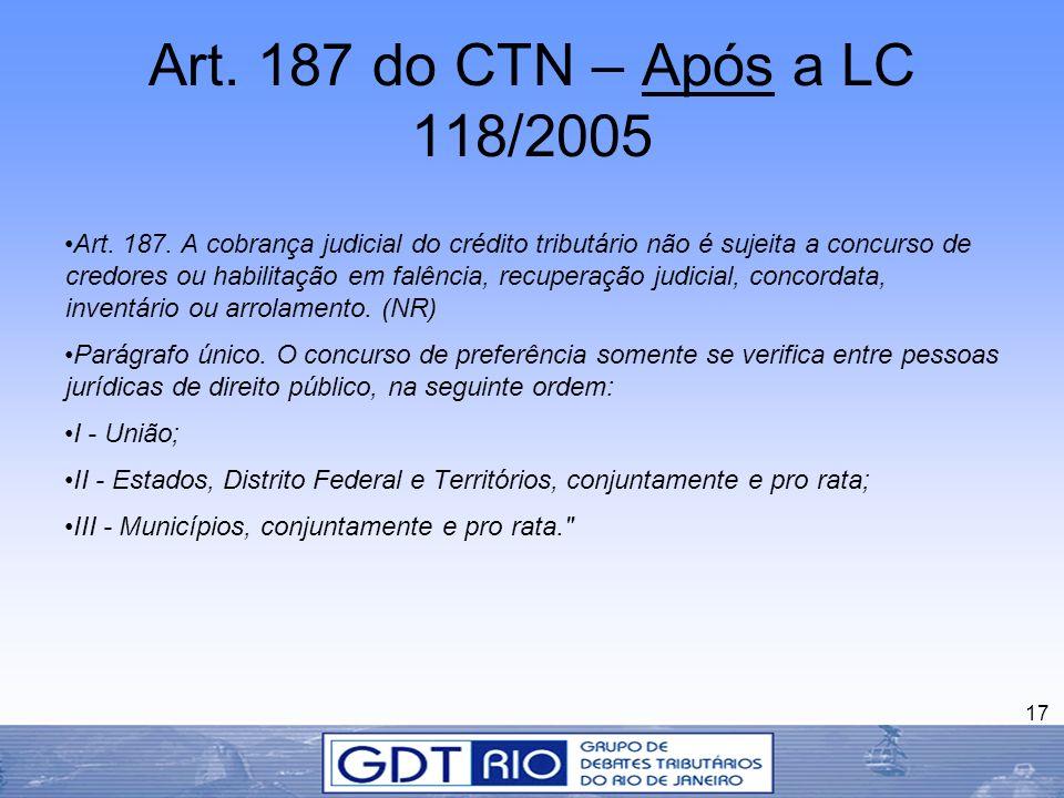 Art. 187 do CTN – Após a LC 118/2005