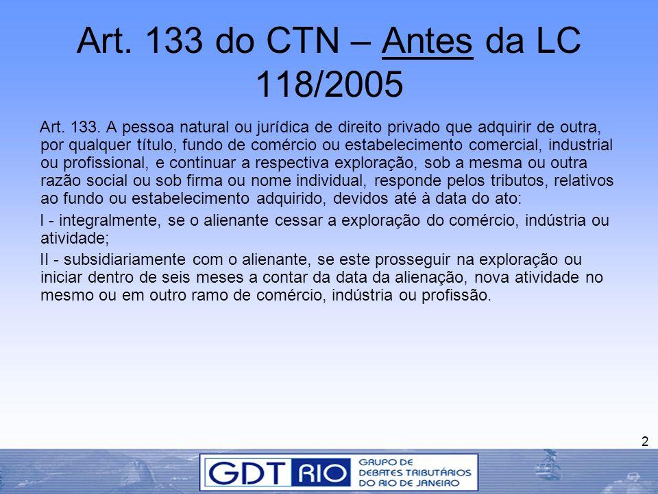 Art. 133 do CTN – Antes da LC 118/2005