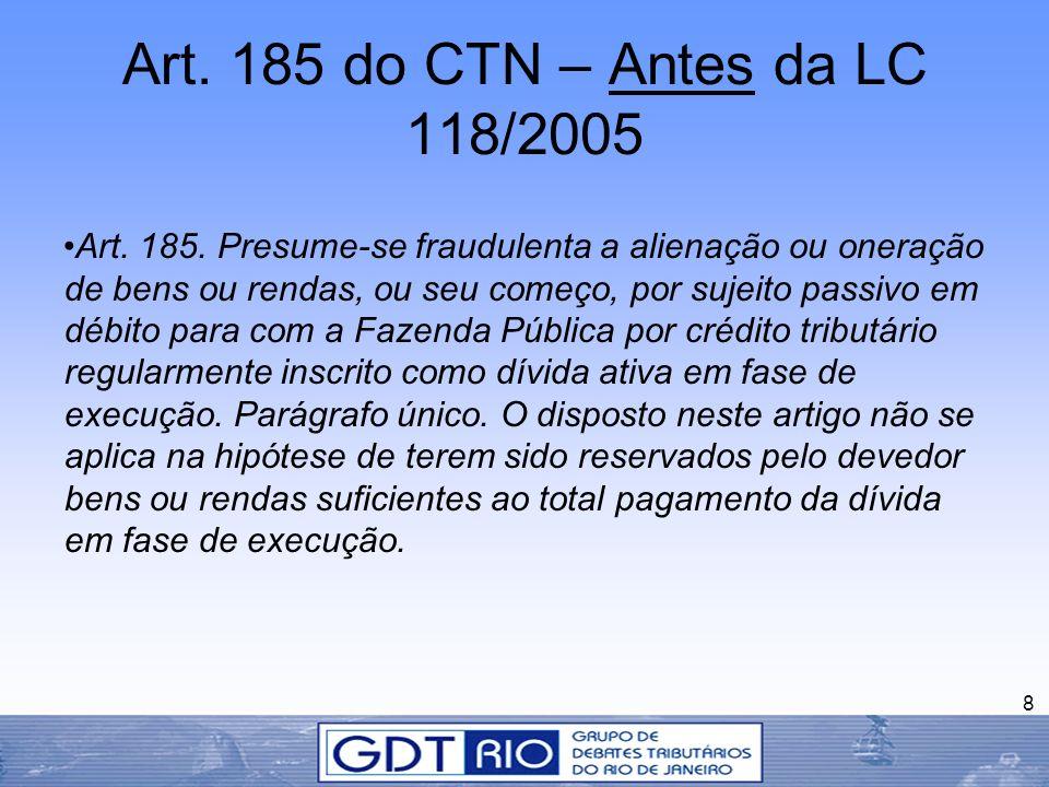 Art. 185 do CTN – Antes da LC 118/2005