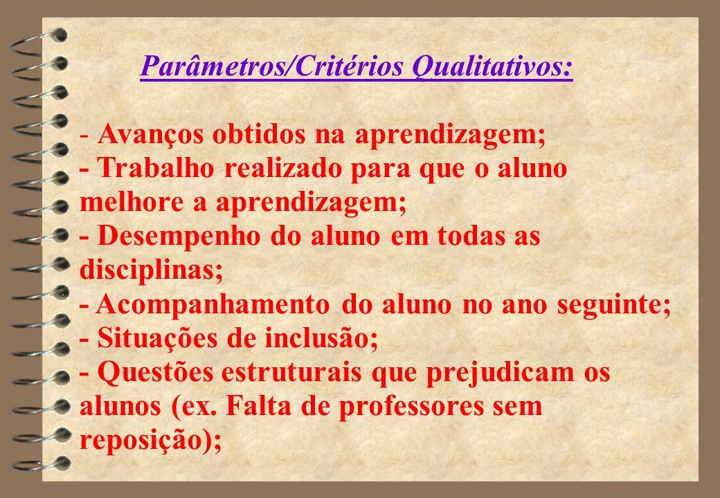 Parâmetros/Critérios Qualitativos: