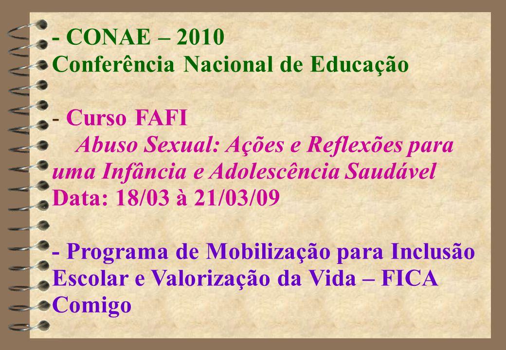- CONAE – 2010 Conferência Nacional de Educação. Curso FAFI. Abuso Sexual: Ações e Reflexões para uma Infância e Adolescência Saudável.