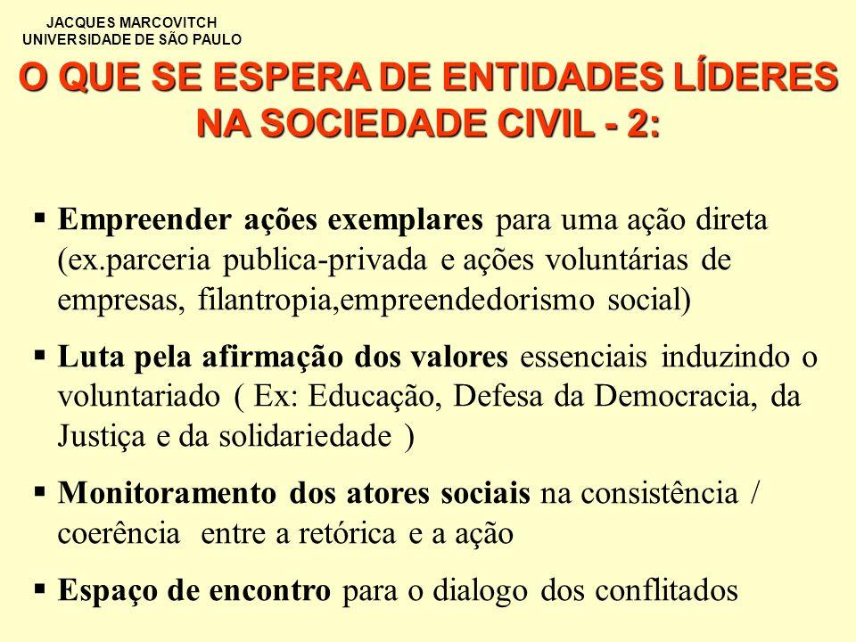 O QUE SE ESPERA DE ENTIDADES LÍDERES NA SOCIEDADE CIVIL - 2: