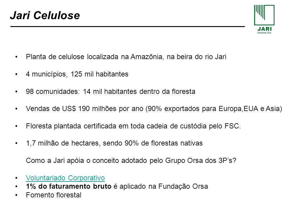 Jari CelulosePlanta de celulose localizada na Amazônia, na beira do rio Jari. 4 municípios, 125 mil habitantes.