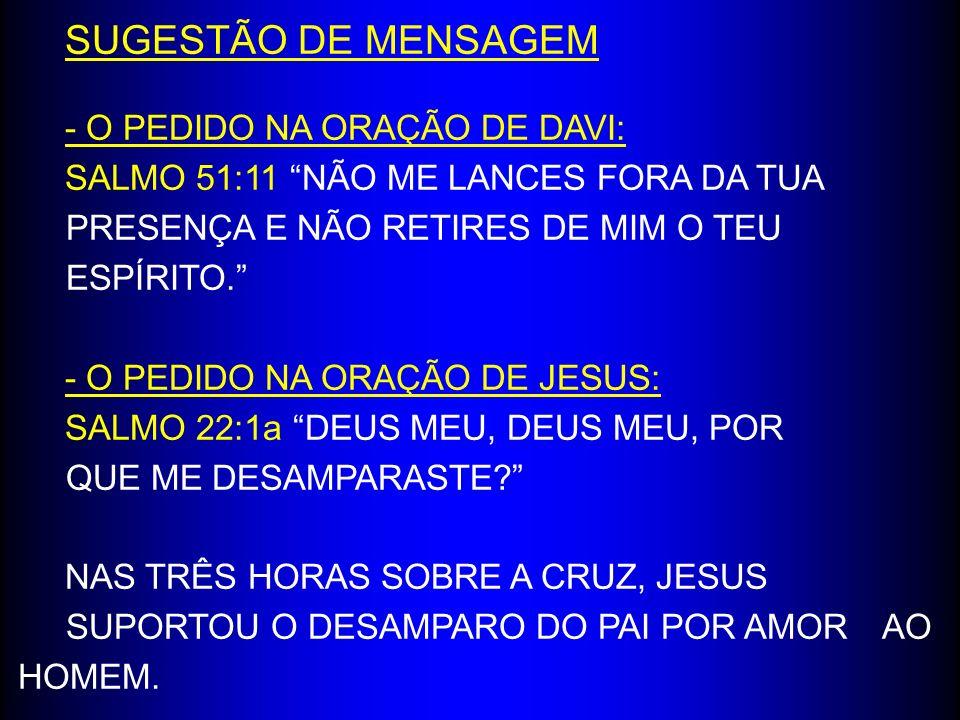 SUGESTÃO DE MENSAGEM - O PEDIDO NA ORAÇÃO DE DAVI: