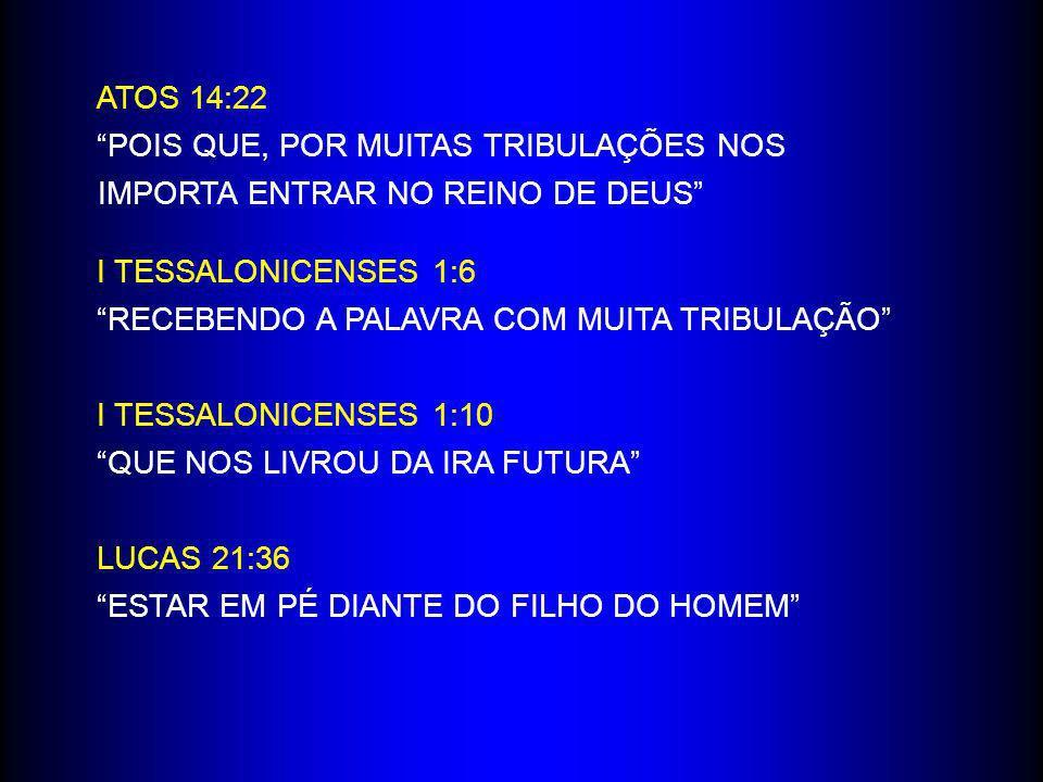 ATOS 14:22 POIS QUE, POR MUITAS TRIBULAÇÕES NOS IMPORTA ENTRAR NO REINO DE DEUS I TESSALONICENSES 1:6.