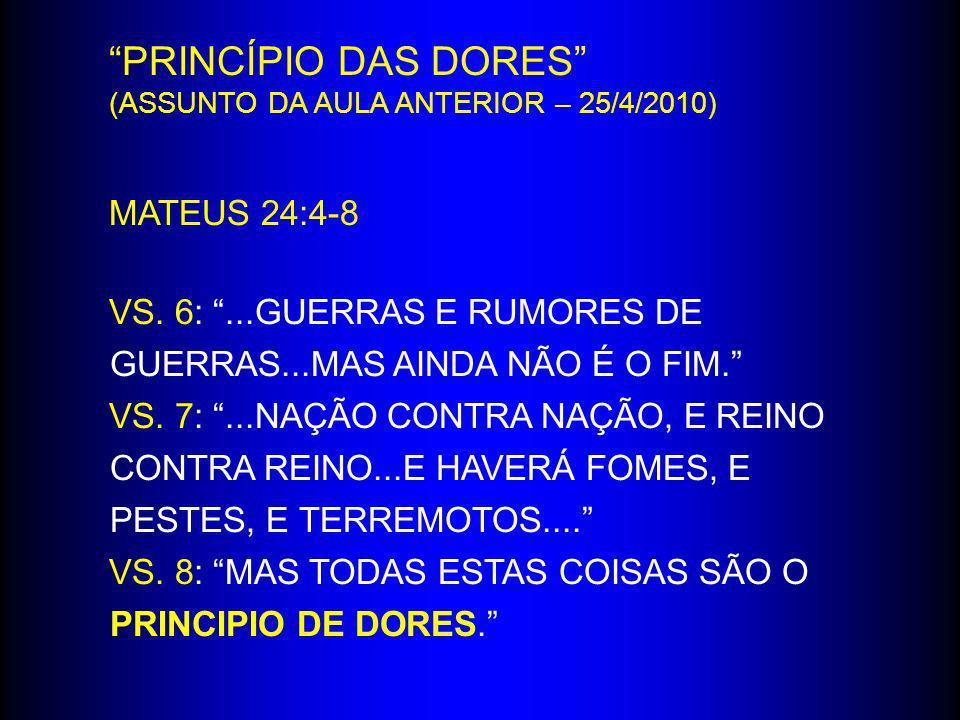 PRINCÍPIO DAS DORES MATEUS 24:4-8