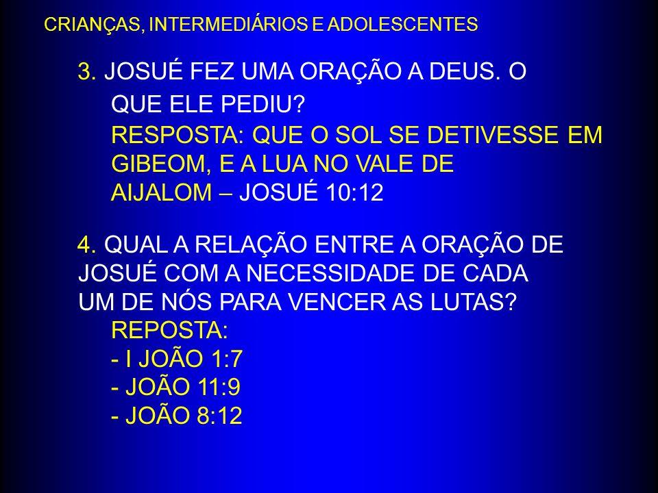 3. JOSUÉ FEZ UMA ORAÇÃO A DEUS. O QUE ELE PEDIU