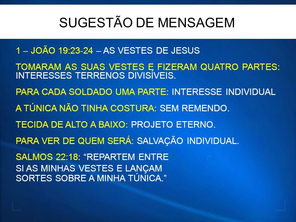 SUGESTÃO DE MENSAGEM 1 – JOÃO 19:23-24 – AS VESTES DE JESUS