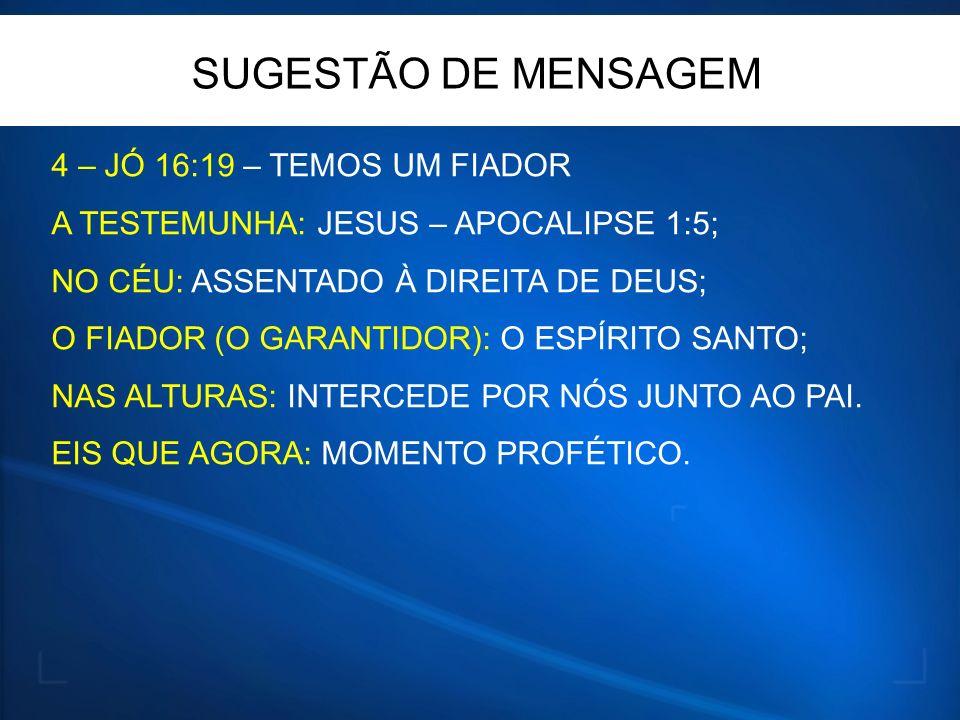 SUGESTÃO DE MENSAGEM 4 – JÓ 16:19 – TEMOS UM FIADOR