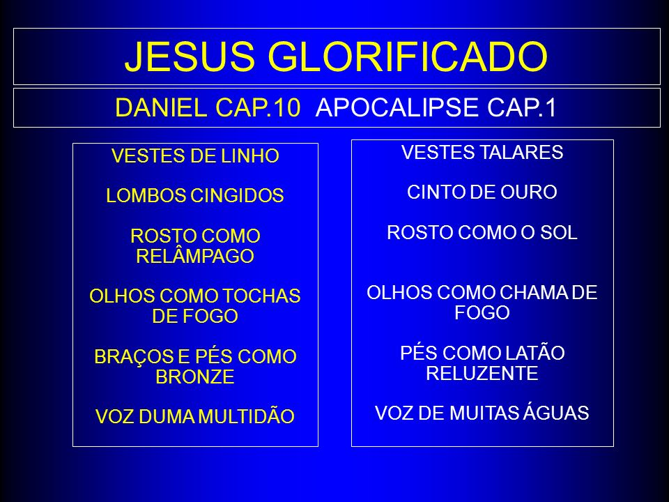 JESUS GLORIFICADO DANIEL CAP.10 APOCALIPSE CAP.1 VESTES TALARES