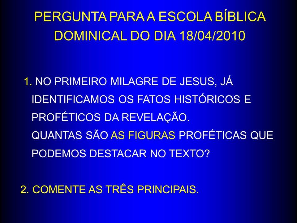 PERGUNTA PARA A ESCOLA BÍBLICA DOMINICAL DO DIA 18/04/2010