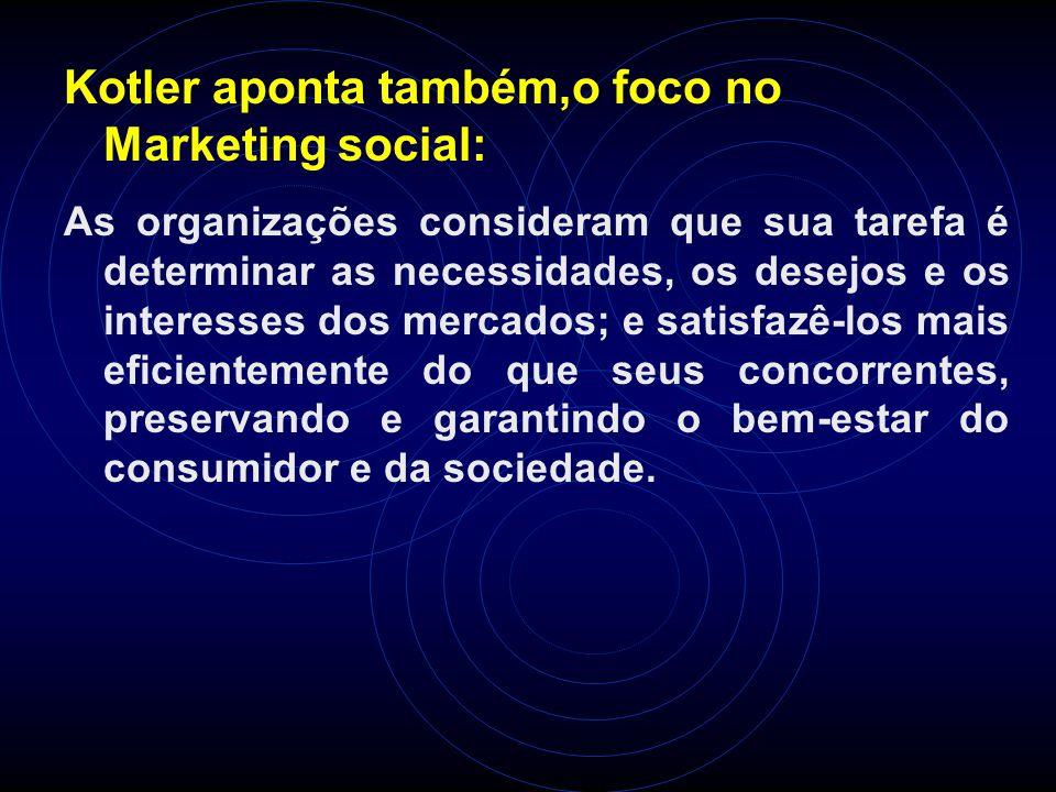 Kotler aponta também,o foco no Marketing social: