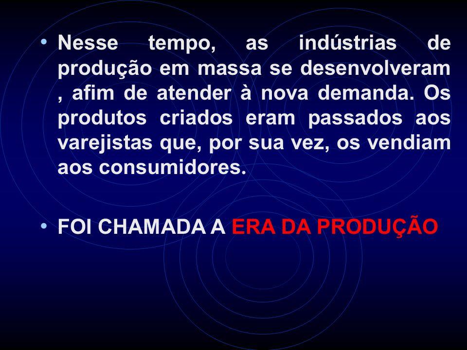 Nesse tempo, as indústrias de produção em massa se desenvolveram , afim de atender à nova demanda. Os produtos criados eram passados aos varejistas que, por sua vez, os vendiam aos consumidores.