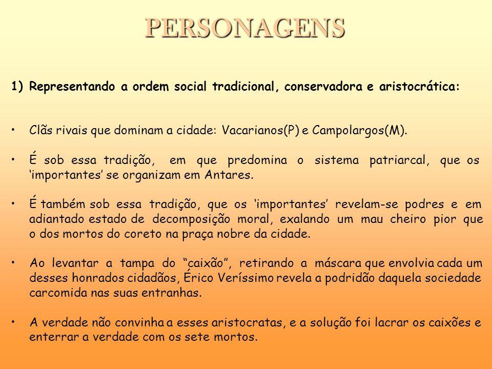 PERSONAGENS Representando a ordem social tradicional, conservadora e aristocrática: