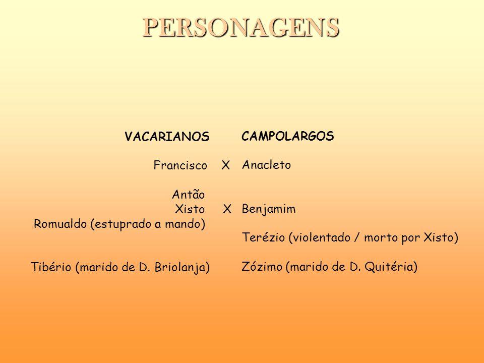 PERSONAGENS VACARIANOS CAMPOLARGOS Francisco X Anacleto Antão Xisto X