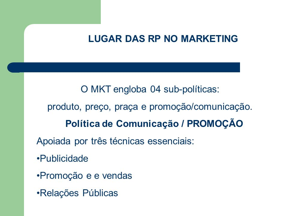 LUGAR DAS RP NO MARKETING