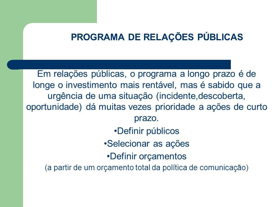 PROGRAMA DE RELAÇÕES PÚBLICAS