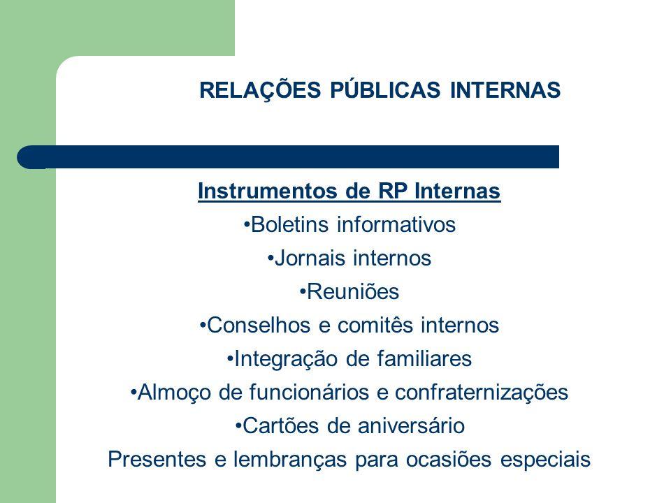RELAÇÕES PÚBLICAS INTERNAS Instrumentos de RP Internas