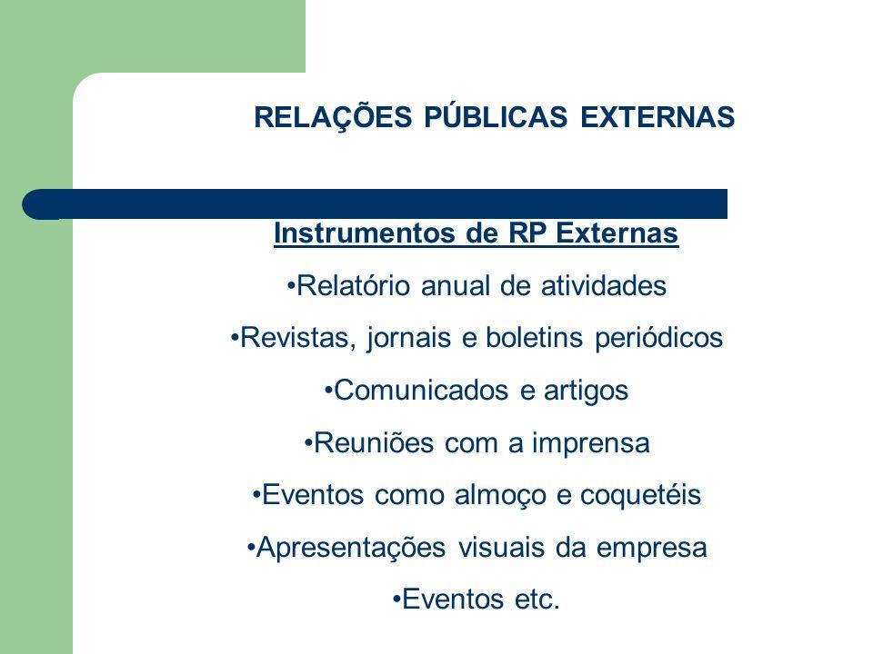 RELAÇÕES PÚBLICAS EXTERNAS Instrumentos de RP Externas
