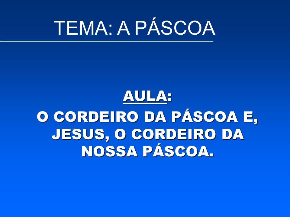 AULA: O CORDEIRO DA PÁSCOA E, JESUS, O CORDEIRO DA NOSSA PÁSCOA.