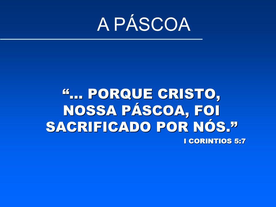 ... PORQUE CRISTO, NOSSA PÁSCOA, FOI SACRIFICADO POR NÓS.
