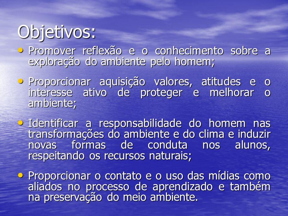 Objetivos: Promover reflexão e o conhecimento sobre a exploração do ambiente pelo homem;