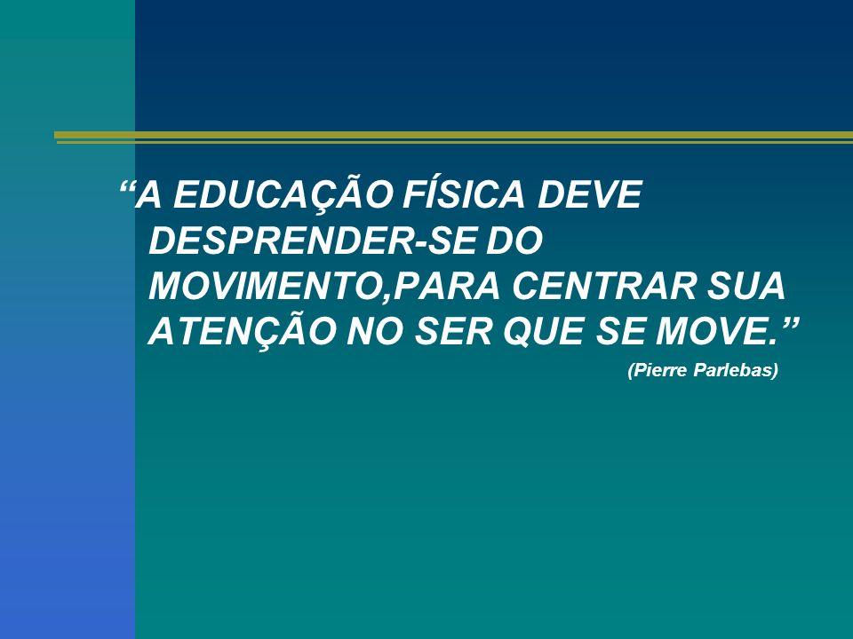 A EDUCAÇÃO FÍSICA DEVE DESPRENDER-SE DO MOVIMENTO,PARA CENTRAR SUA ATENÇÃO NO SER QUE SE MOVE.