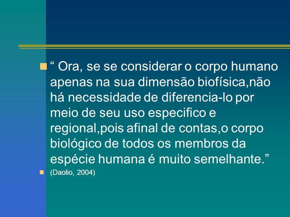 Ora, se se considerar o corpo humano apenas na sua dimensão biofísica,não há necessidade de diferencia-lo por meio de seu uso especifico e regional,pois afinal de contas,o corpo biológico de todos os membros da espécie humana é muito semelhante.