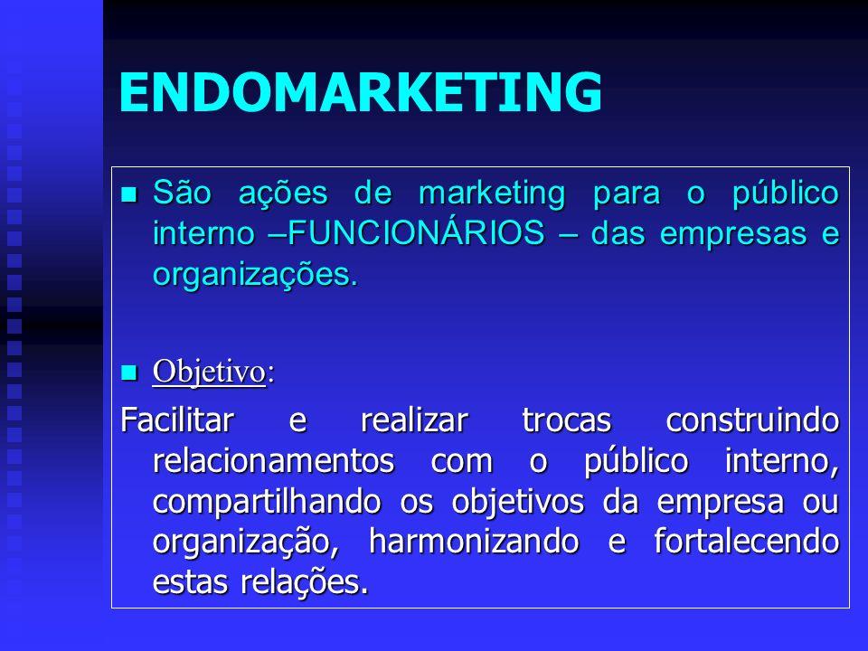 ENDOMARKETING São ações de marketing para o público interno –FUNCIONÁRIOS – das empresas e organizações.