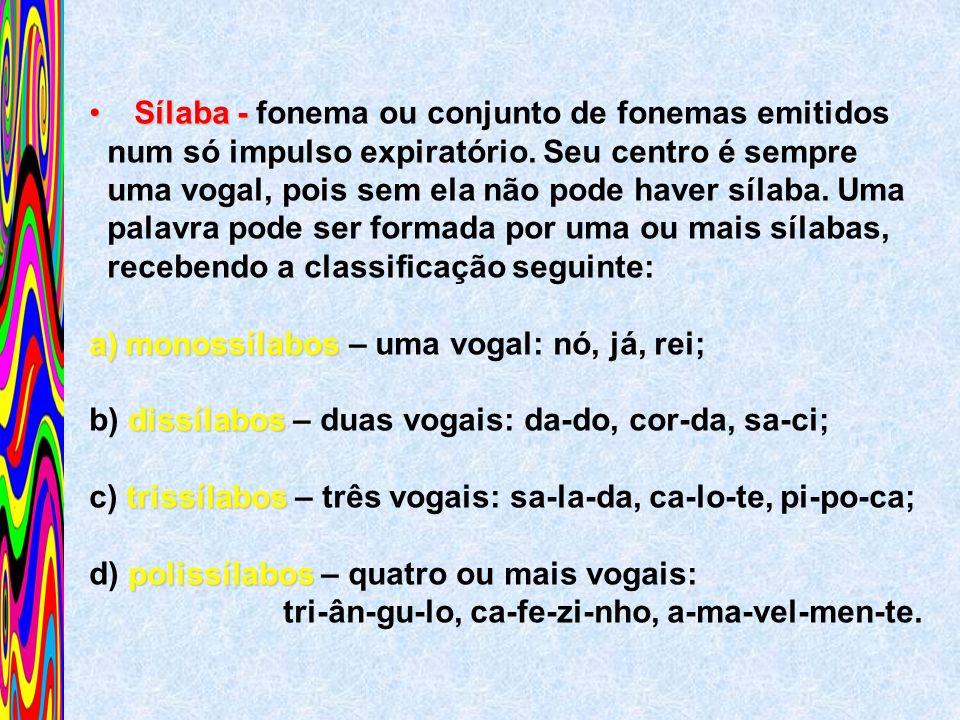 Sílaba - fonema ou conjunto de fonemas emitidos