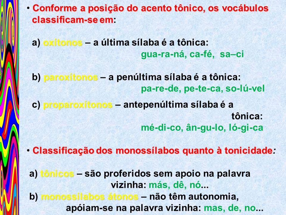 Conforme a posição do acento tônico, os vocábulos