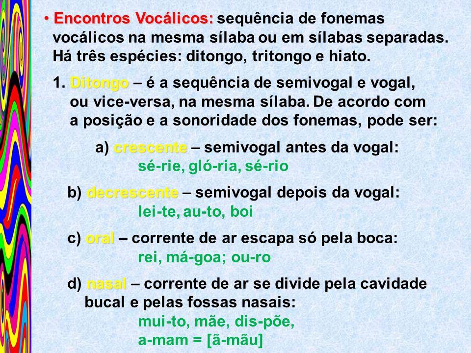 Encontros Vocálicos: sequência de fonemas