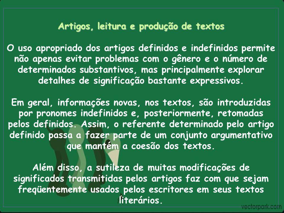 Artigos, leitura e produção de textos
