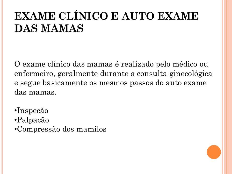 EXAME CLÍNICO E AUTO EXAME DAS MAMAS