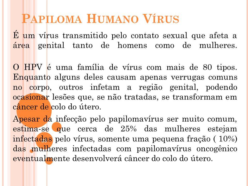 Papiloma Humano Vírus É um vírus transmitido pelo contato sexual que afeta a área genital tanto de homens como de mulheres.