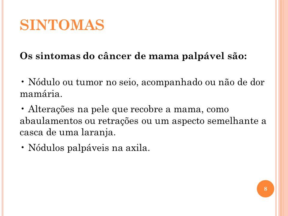 SINTOMAS Os sintomas do câncer de mama palpável são: