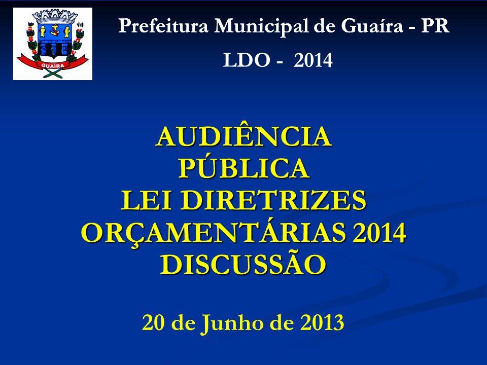 AUDIÊNCIA PÚBLICA LEI DIRETRIZES ORÇAMENTÁRIAS 2014 DISCUSSÃO