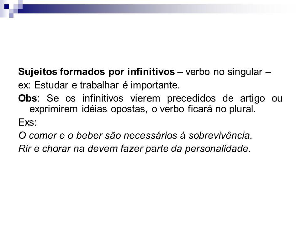 Sujeitos formados por infinitivos – verbo no singular –