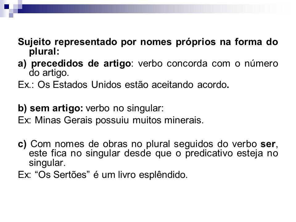 Sujeito representado por nomes próprios na forma do plural: