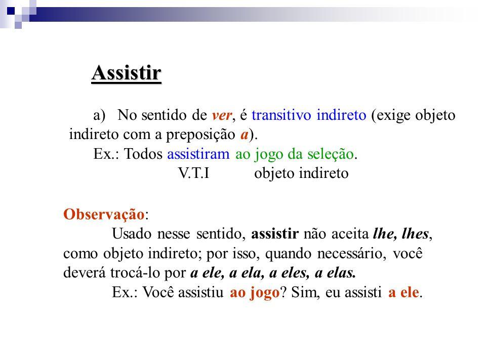 Assistir No sentido de ver, é transitivo indireto (exige objeto