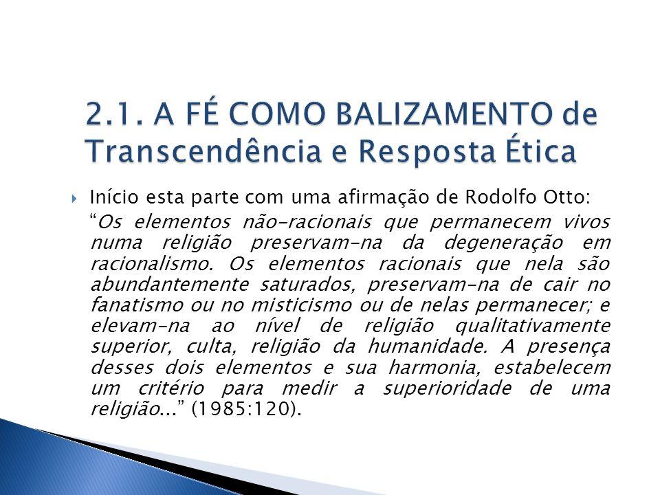 2.1. A FÉ COMO BALIZAMENTO de Transcendência e Resposta Ética