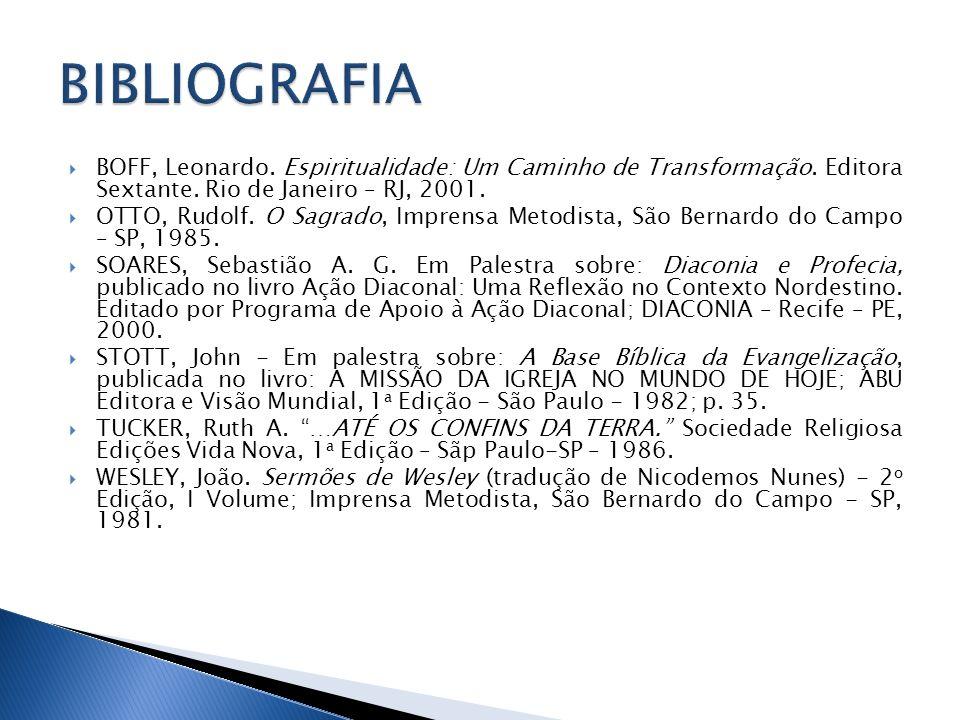 BIBLIOGRAFIA BOFF, Leonardo. Espiritualidade: Um Caminho de Transformação. Editora Sextante. Rio de Janeiro – RJ, 2001.
