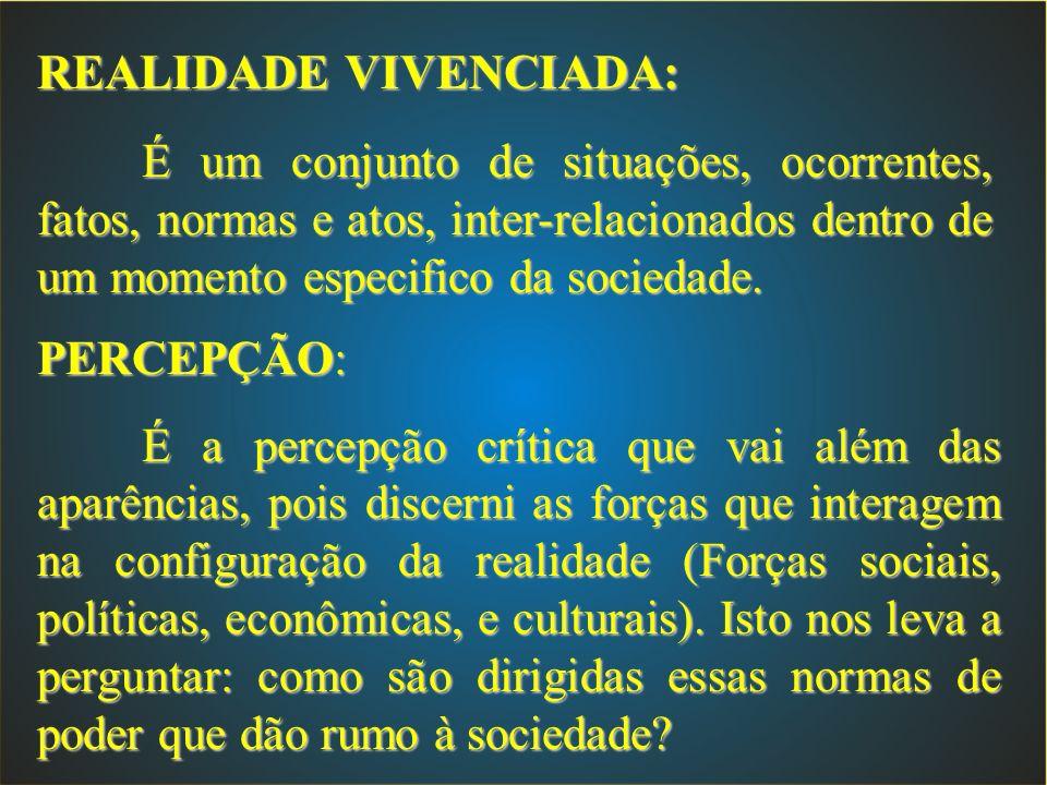REALIDADE VIVENCIADA: