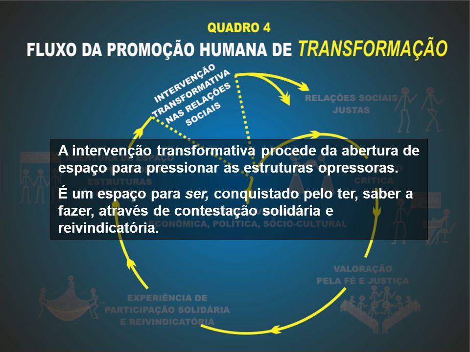 A intervenção transformativa procede da abertura de espaço para pressionar as estruturas opressoras.