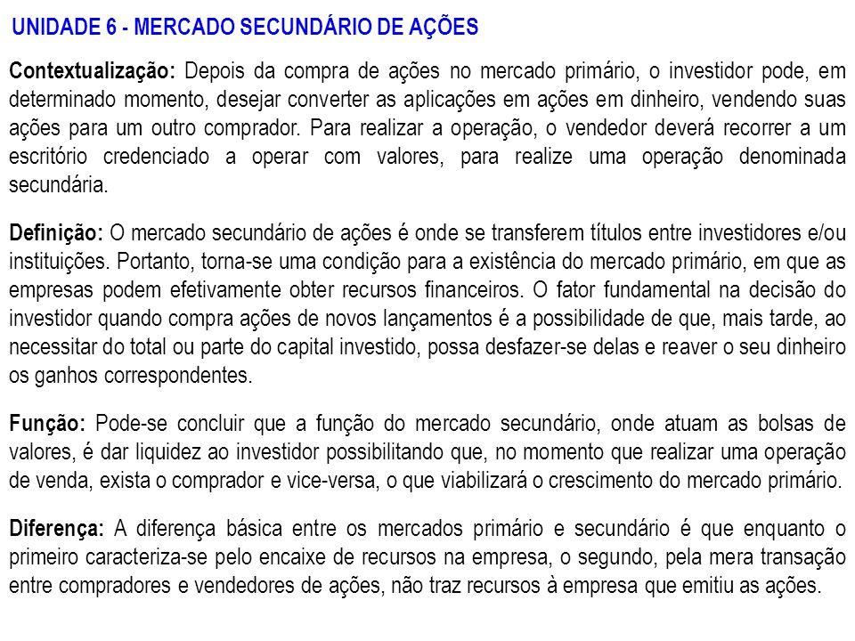 UNIDADE 6 - MERCADO SECUNDÁRIO DE AÇÕES
