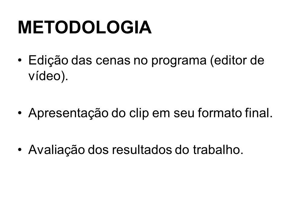 METODOLOGIA Edição das cenas no programa (editor de vídeo).